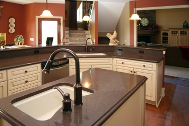 close up view of custom kitchen with fall tones
