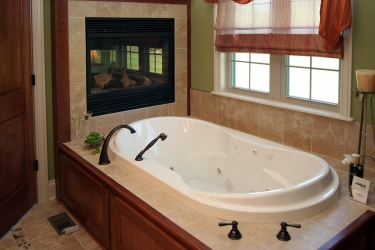 garden tub with gas fireplace