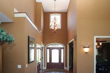 grand foyer with chandelier