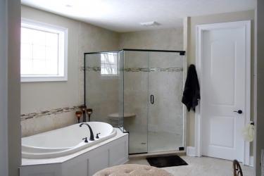 modern bathroom with garden tub