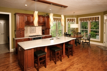 kitchen with island hardwood floors and window view