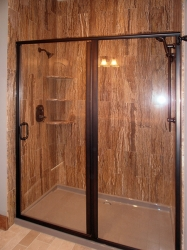 shower with wood-grain tile walls