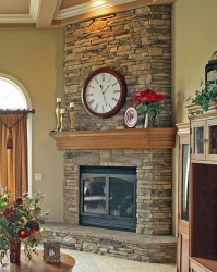 stone fireplace with custom hardwood mantel