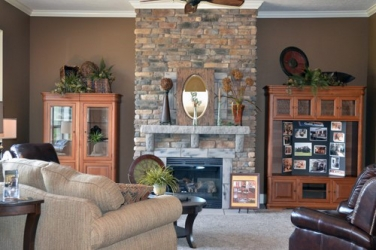 custom stone fireplace with stone mantel by gatliff custom builders