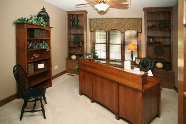 study with built in window seat by gatliff custom builders