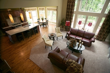 view of great room kitchen and dining nook