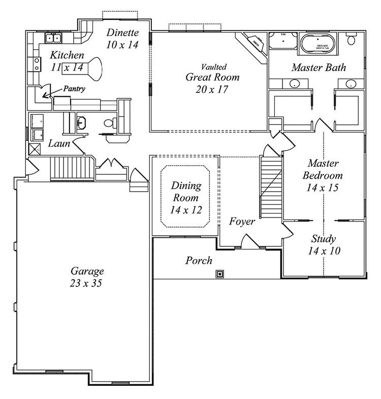 white tail floor plan by gatliff custom homes